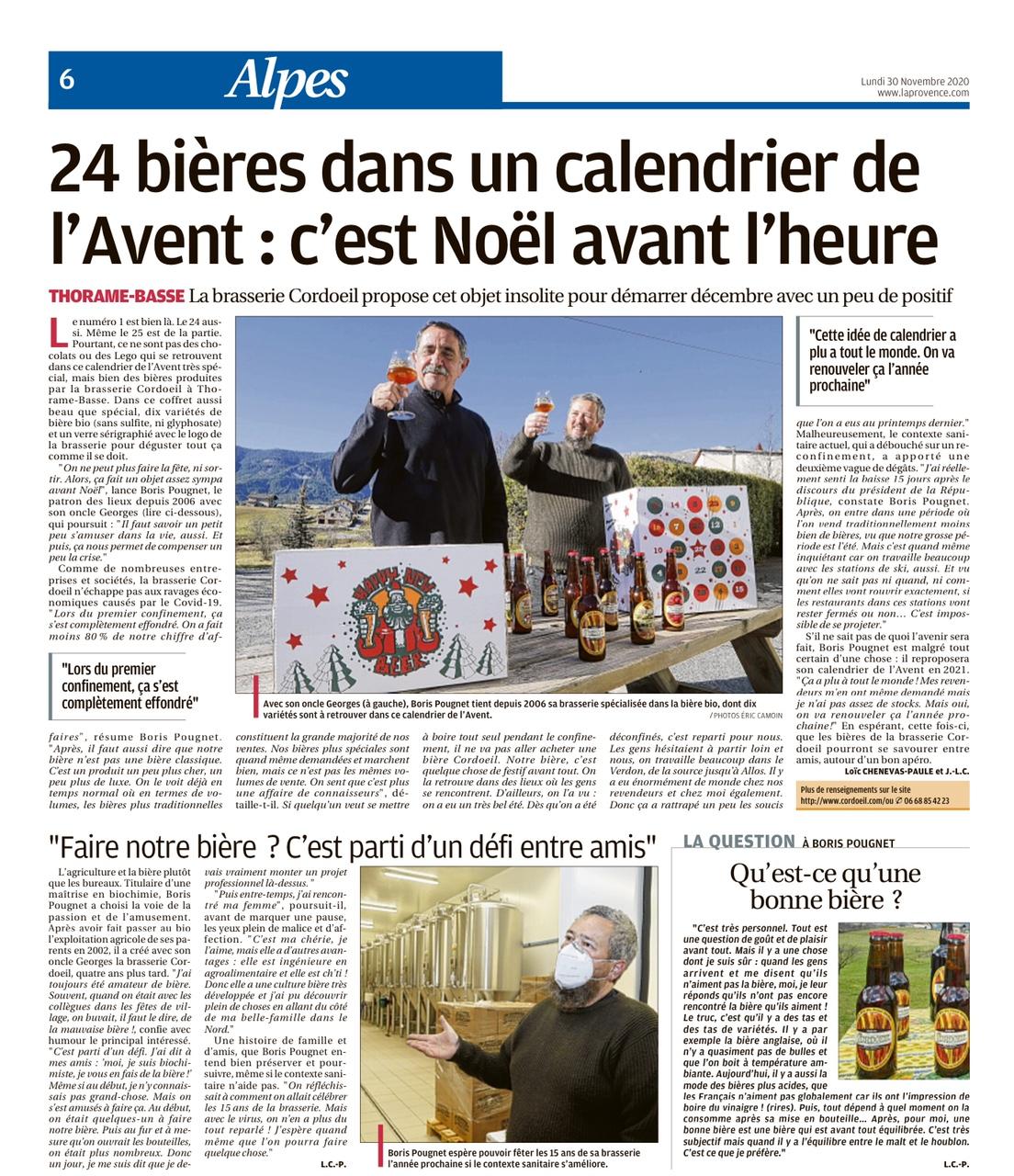 2020 11 La Provence Calendrier de l'Avent Bière